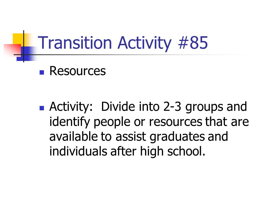 Transition Activity #85 Resources