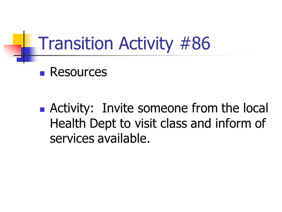 Transition Activity #86 Resources