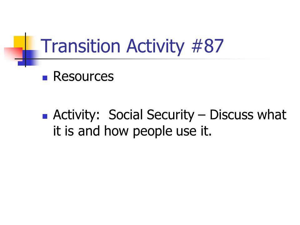 Transition Activity #87 Resources