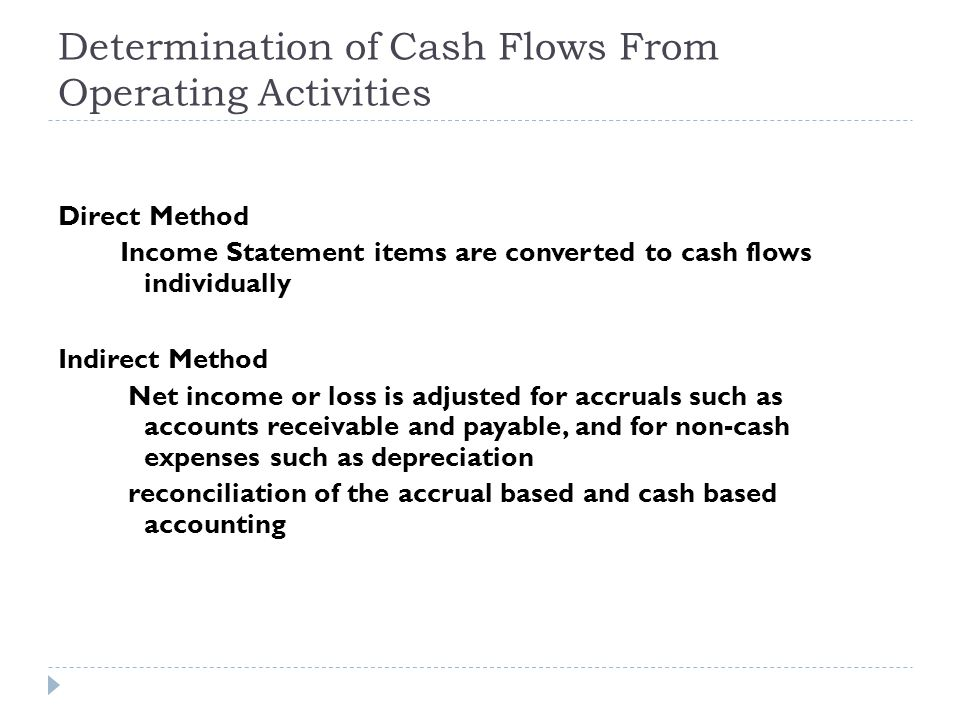 Determination of Cash Flows From Operating Activities