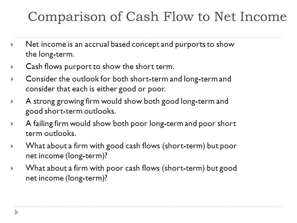 Comparison of Cash Flow to Net Income