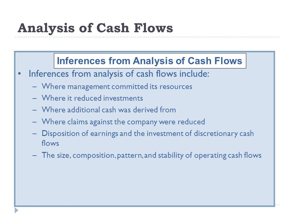 Inferences from Analysis of Cash Flows