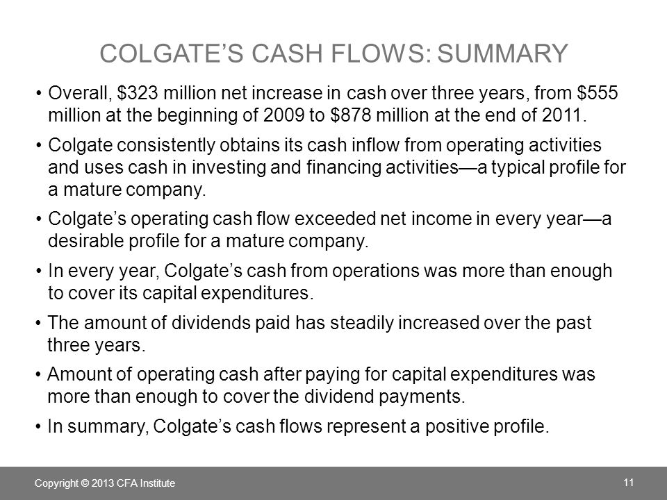 Colgate's cash flows: summary