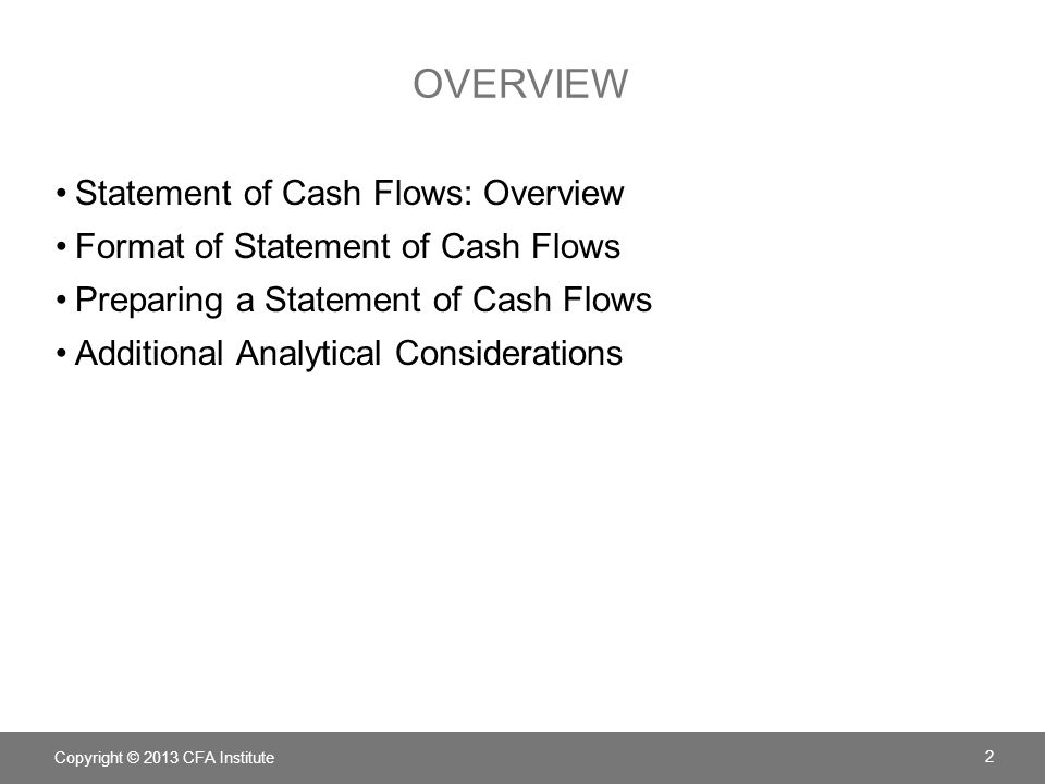 overview Statement of Cash Flows: Overview