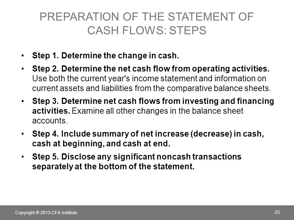 Preparation of the Statement of Cash Flows: Steps