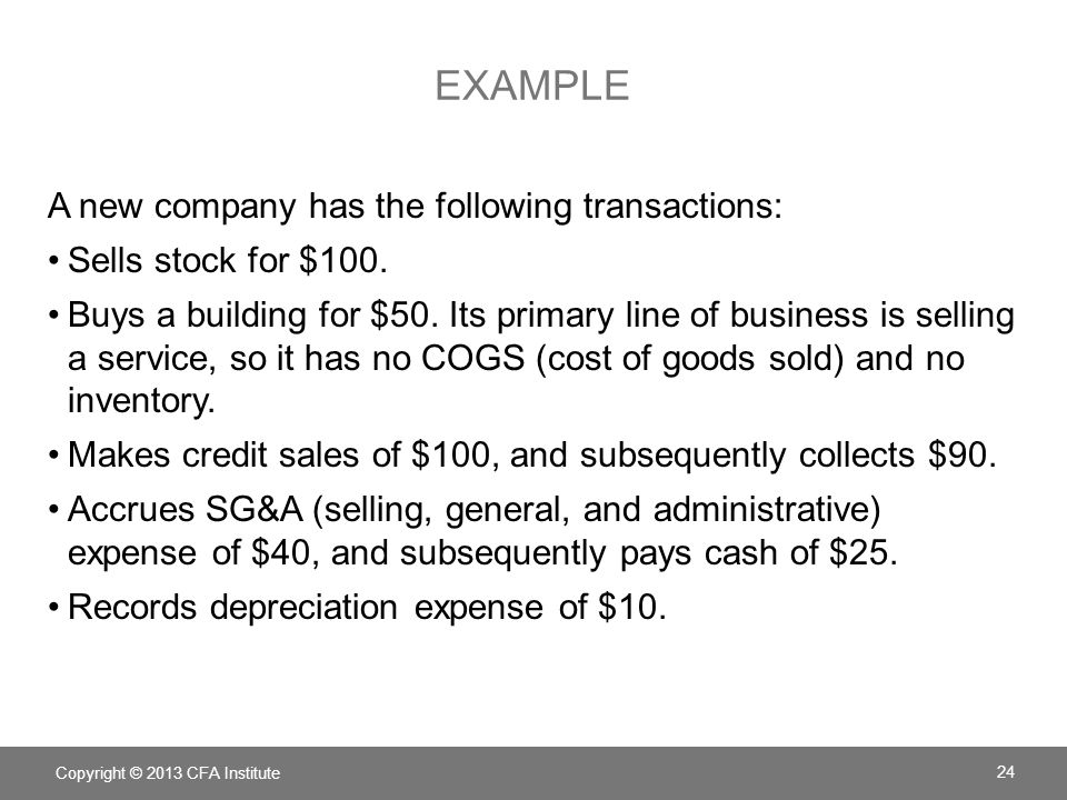 Example A new company has the following transactions: