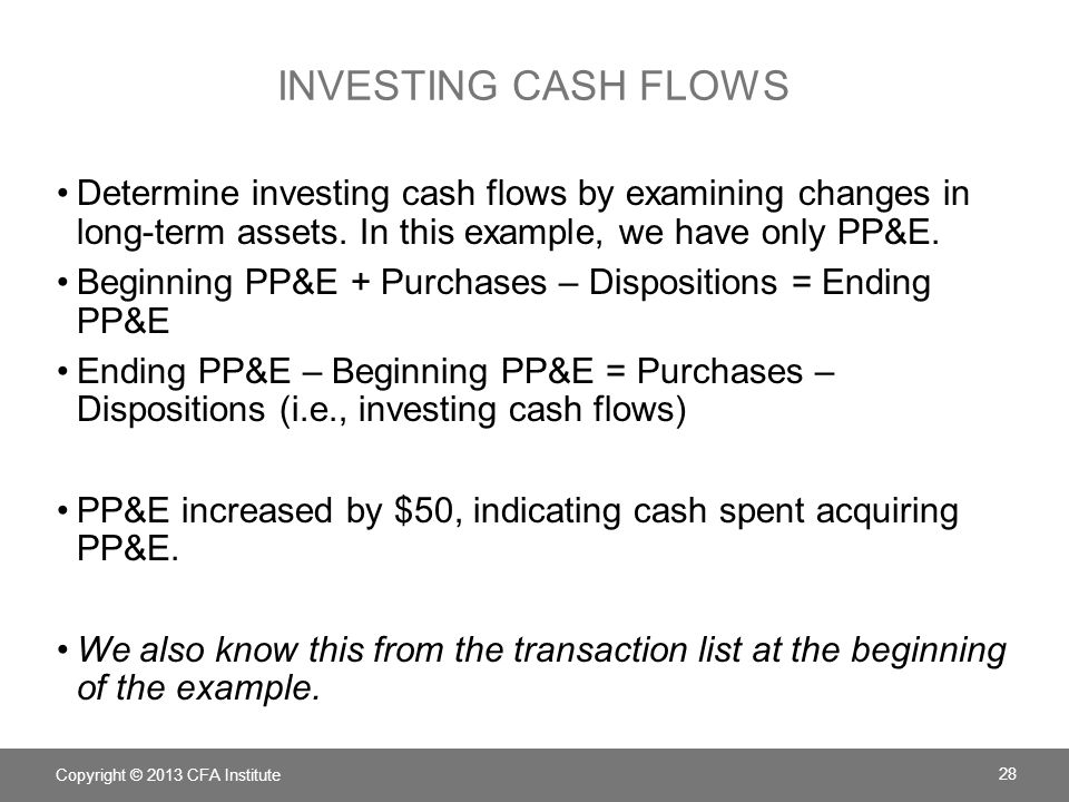 Investing cash flows Determine investing cash flows by examining changes in long-term assets. In this example, we have only PP&E.
