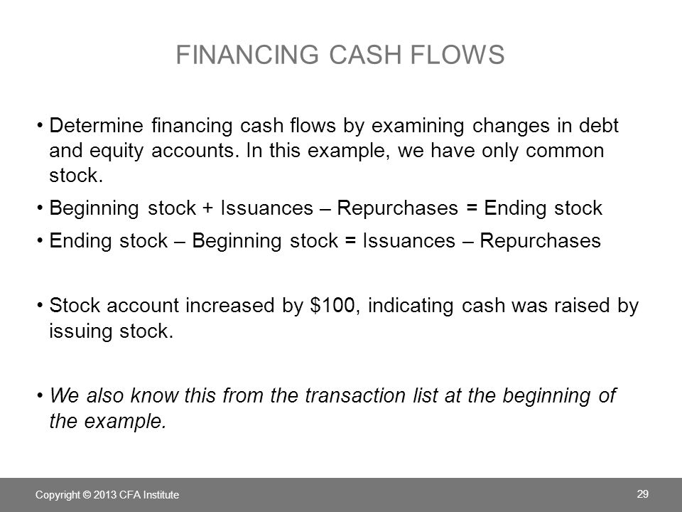 Financing cash flows Determine financing cash flows by examining changes in debt and equity accounts. In this example, we have only common stock.
