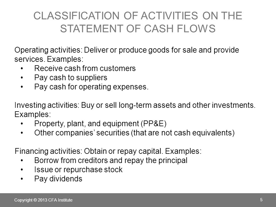 Classification of activities on the statement of cash flows