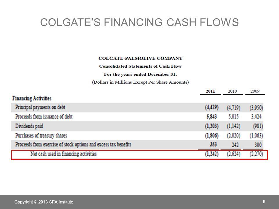 Colgate's financing cash flows