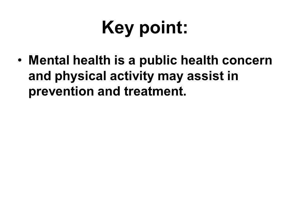 Key point: Mental health is a public health concern and physical activity may assist in prevention and treatment.