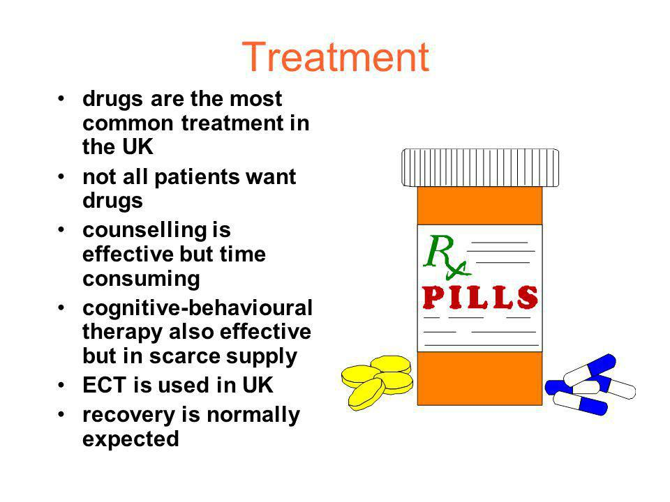 Treatment drugs are the most common treatment in the UK