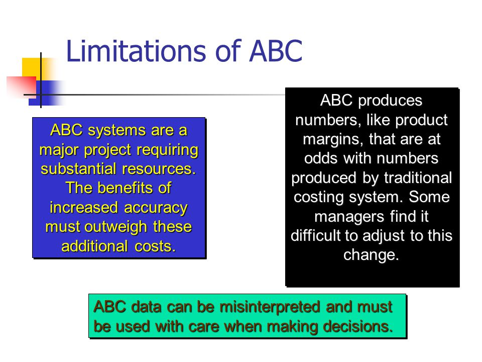 limitations of activity based costing pdf