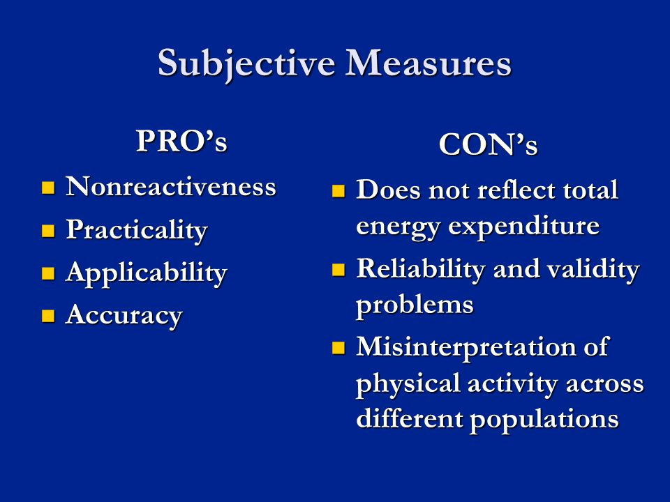 Subjective Measures PRO's CON's Nonreactiveness Practicality