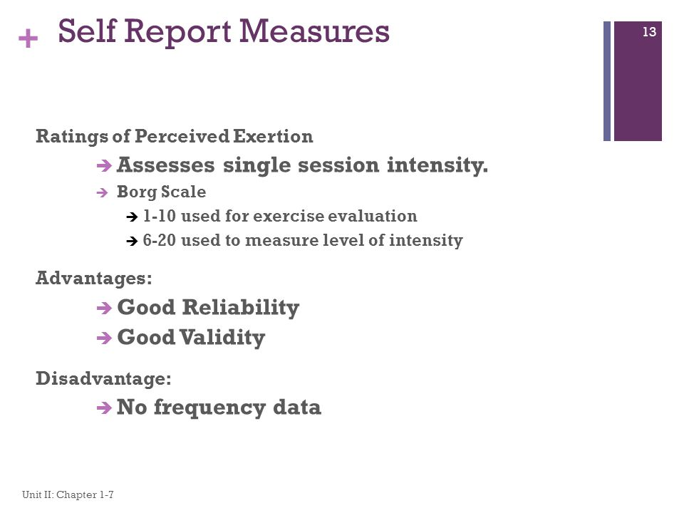 Self Report Measures Assesses single session intensity.