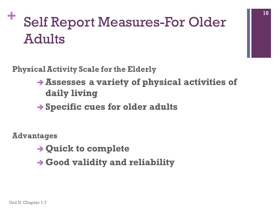 Self Report Measures-For Older Adults