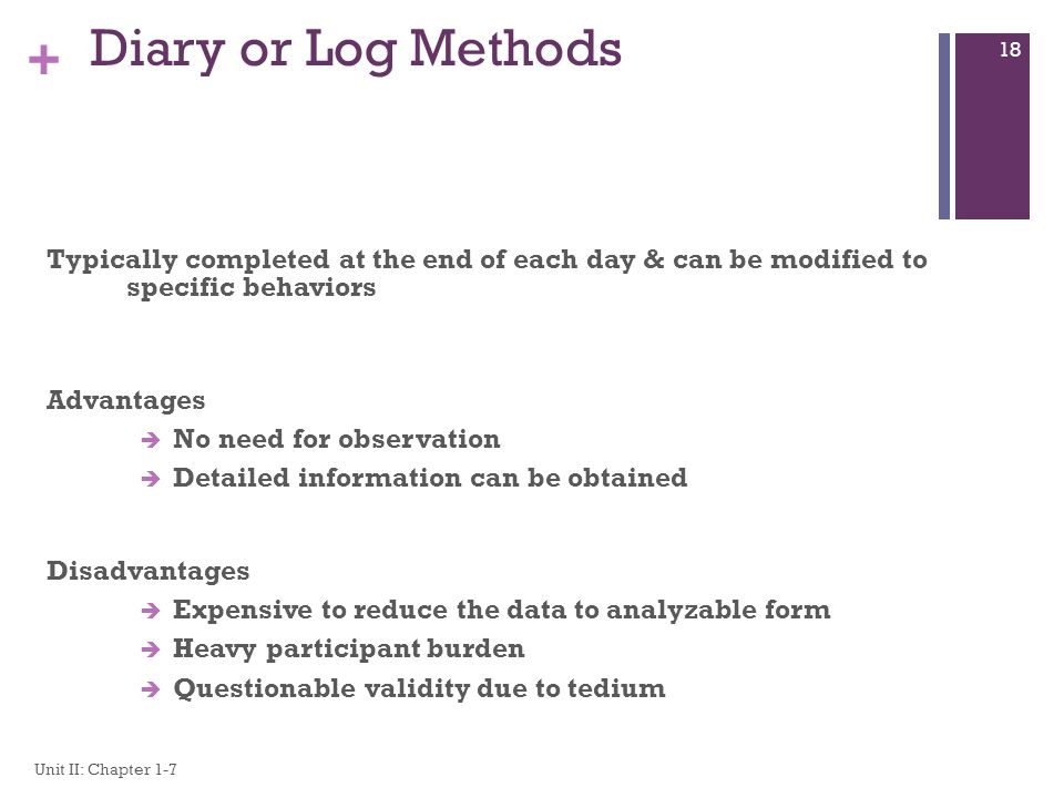 Diary or Log Methods Typically completed at the end of each day & can be modified to specific behaviors.