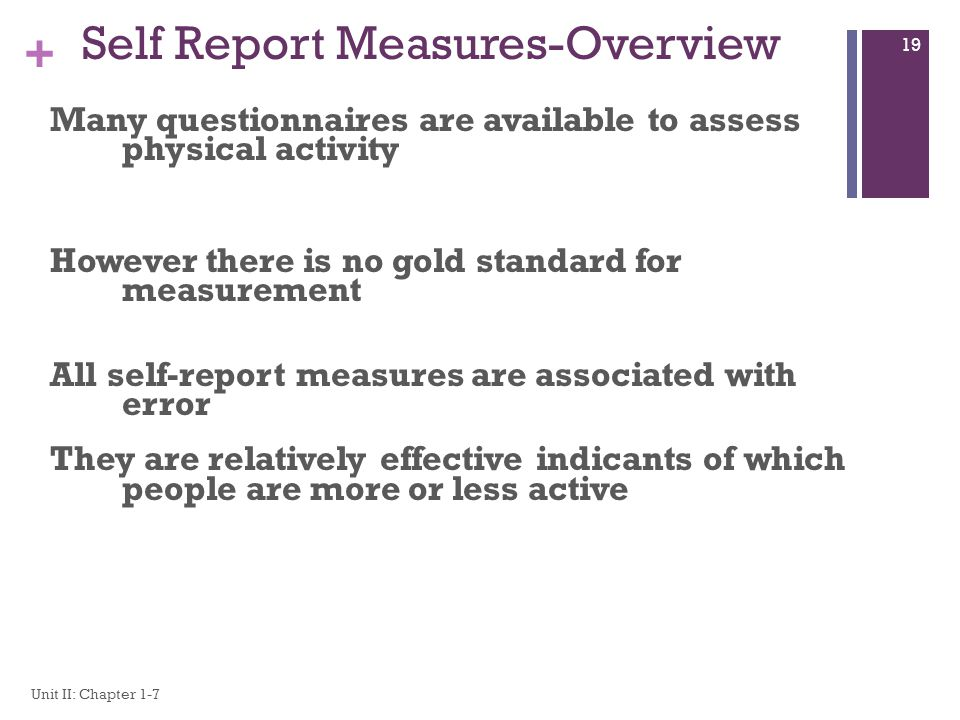 Self Report Measures-Overview