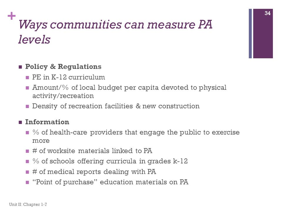 Ways communities can measure PA levels