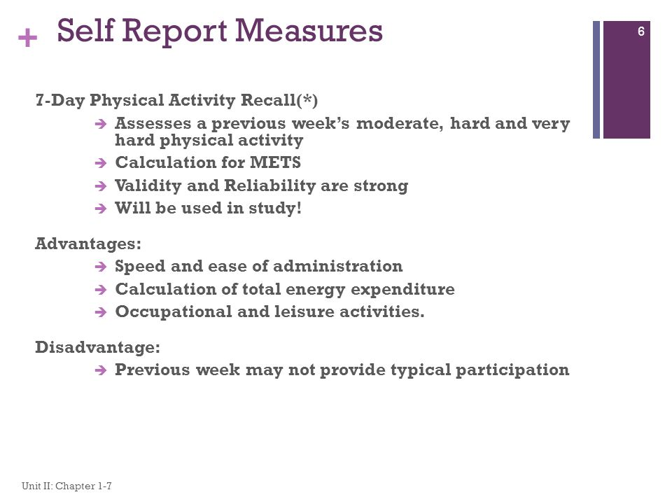 Self Report Measures 7-Day Physical Activity Recall(*)