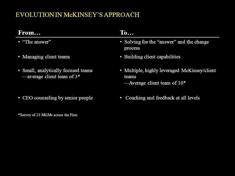 EVOLUTION IN McKINSEY'S APPROACH