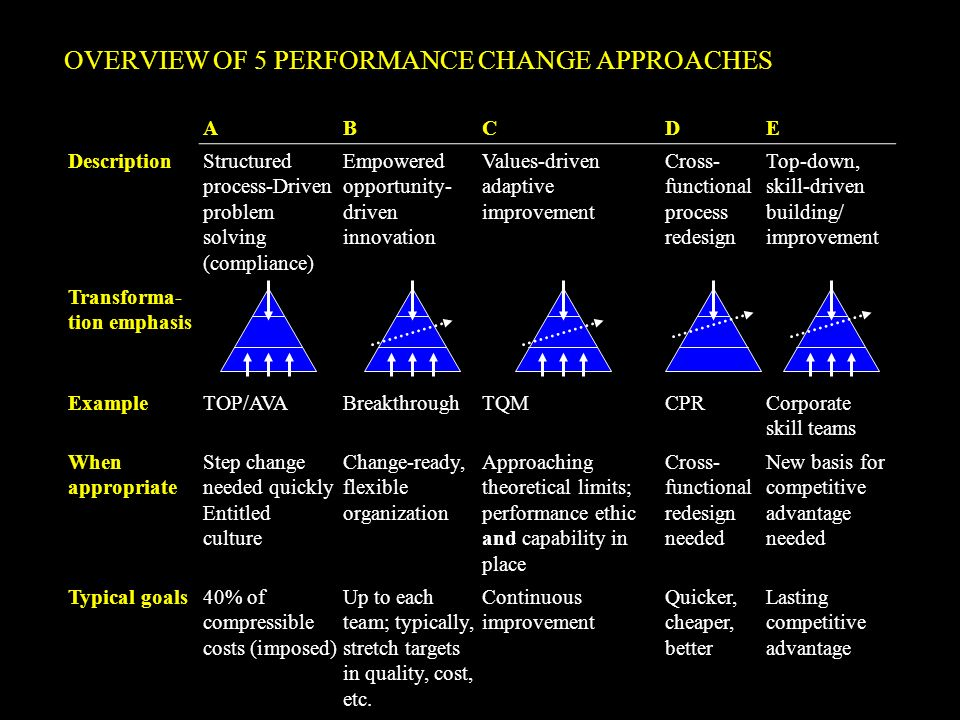 OVERVIEW OF 5 PERFORMANCE CHANGE APPROACHES