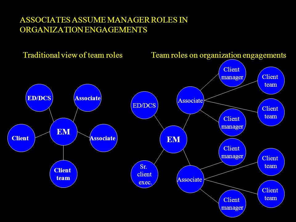 ASSOCIATES ASSUME MANAGER ROLES IN ORGANIZATION ENGAGEMENTS
