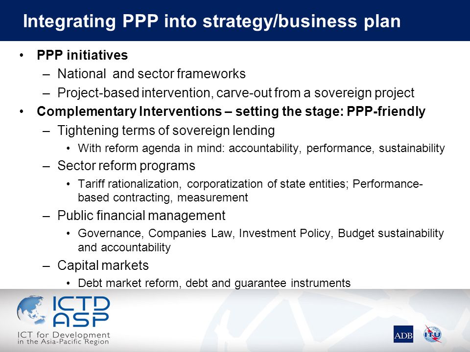 Integrating PPP into strategy/business plan