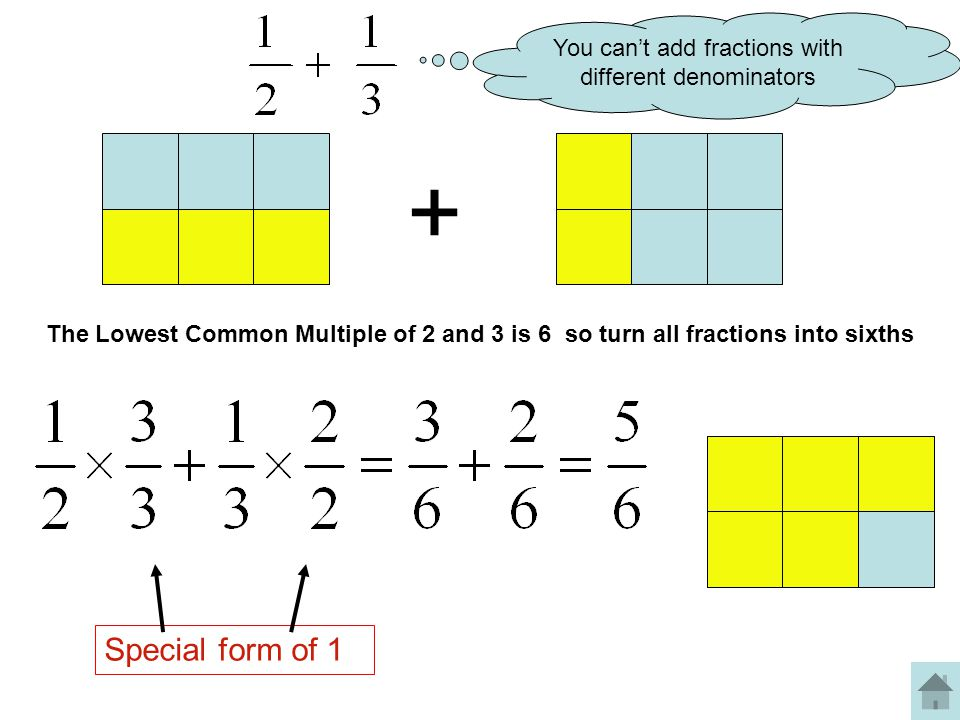 You can't add fractions with different denominators