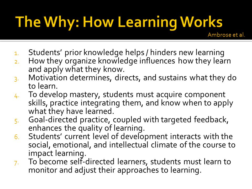 The Why: How Learning Works