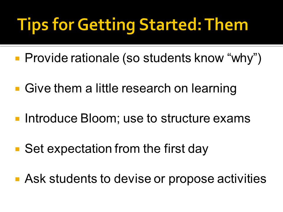 Tips for Getting Started: Them