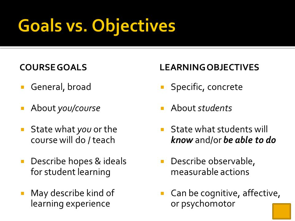 Goals vs. Objectives General, broad About you/course