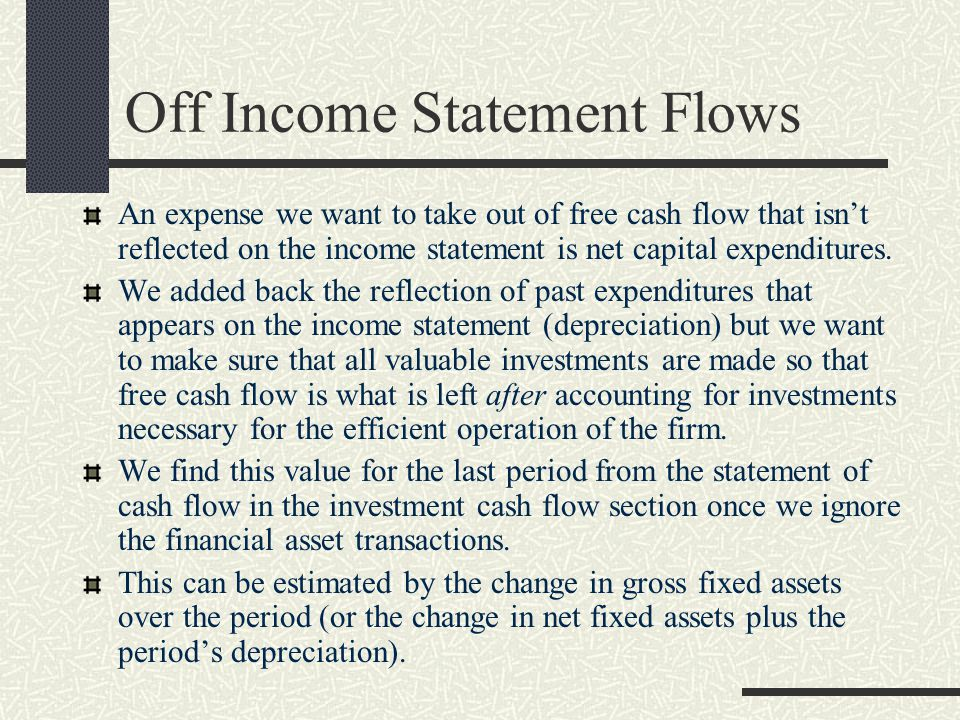 Off Income Statement Flows
