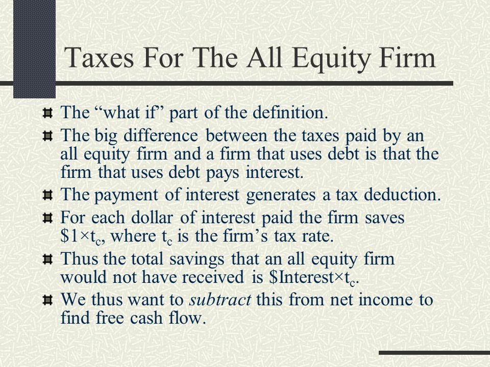 Taxes For The All Equity Firm