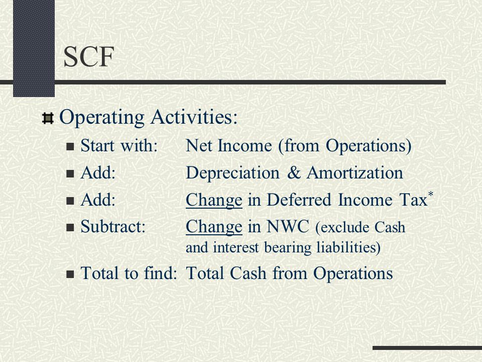 SCF Operating Activities: Start with: Net Income (from Operations)