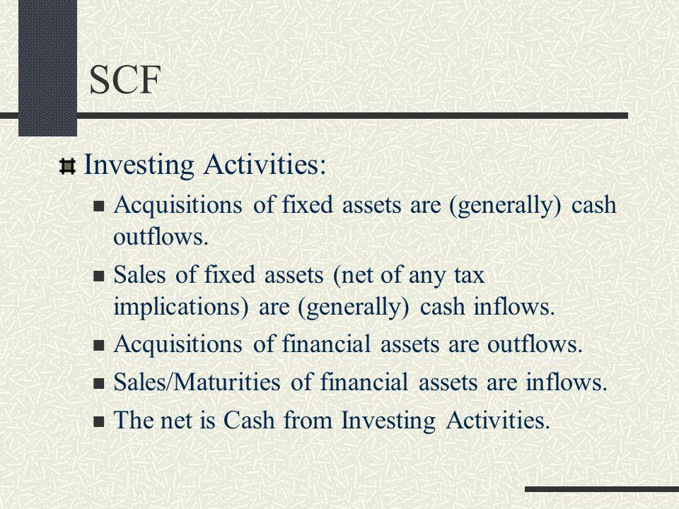 SCF Investing Activities: