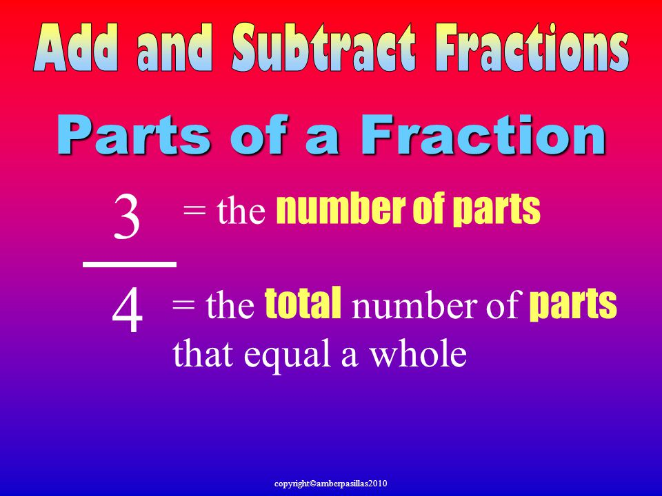 3 4 Parts of a Fraction = the number of parts