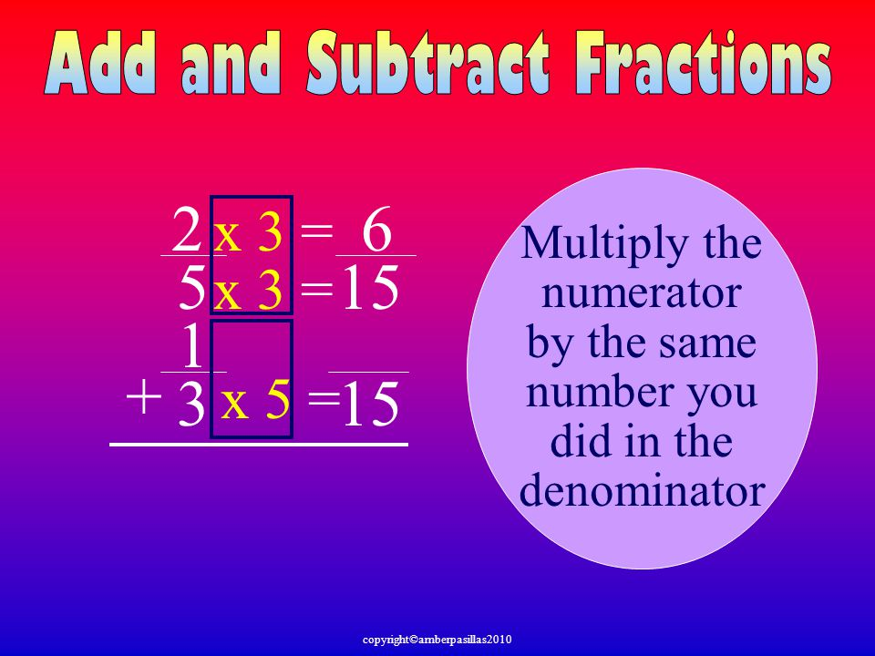 2 6 5 15 1 + 3 15 x 3 = x 3 = x 5 = Multiply the numerator by the same