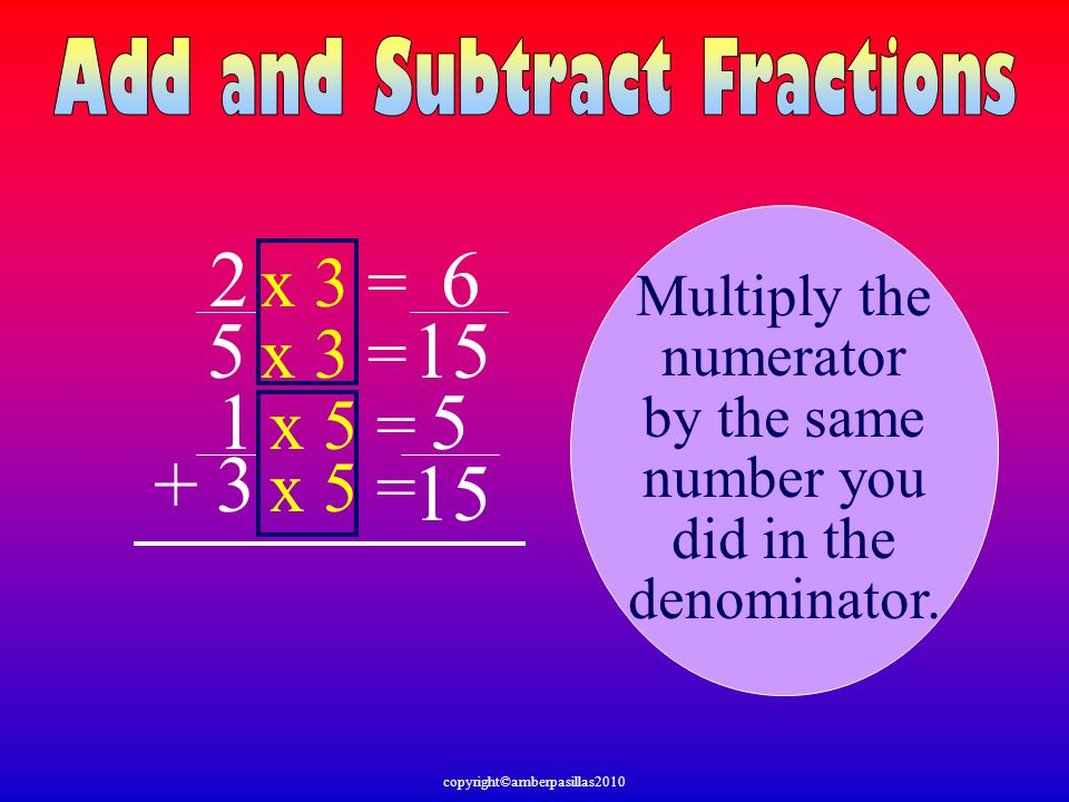 2 6 5 15 1 5 + 3 15 x 3 = x 3 = x 5 = x 5 = Multiply the numerator