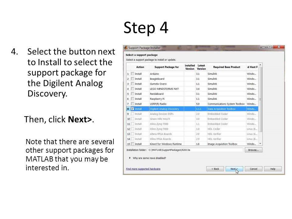 Step 4 Select the button next to Install to select the support package for the Digilent Analog Discovery.