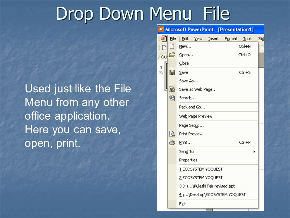 Drop Down Menu File Used just like the File Menu from any other office application.