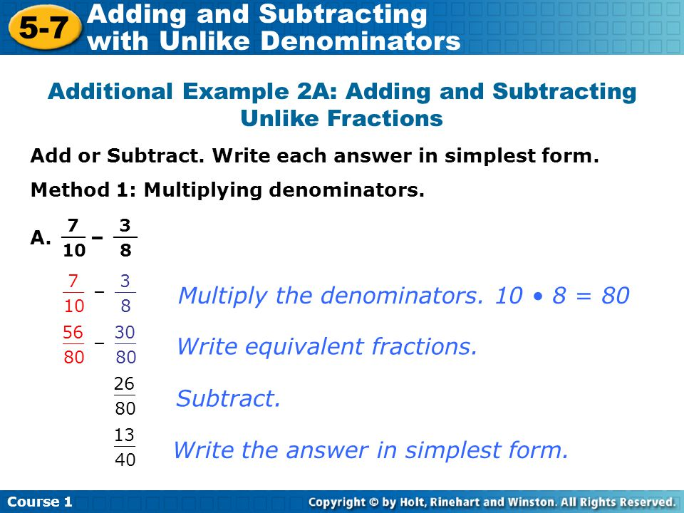 Additional Example 2A: Adding and Subtracting Unlike Fractions