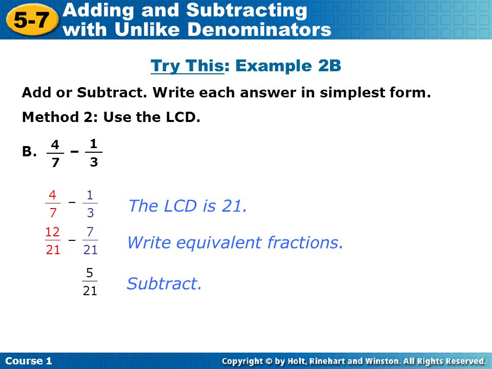 5-7 Adding and Subtracting with Unlike Denominators