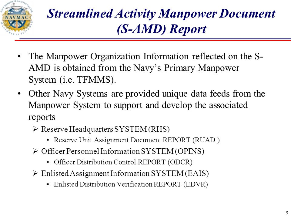 Streamlined Activity Manpower Document (S-AMD) Report