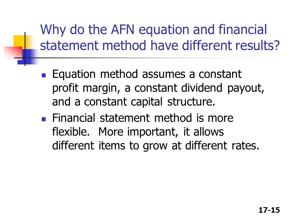 Why do the AFN equation and financial statement method have different results