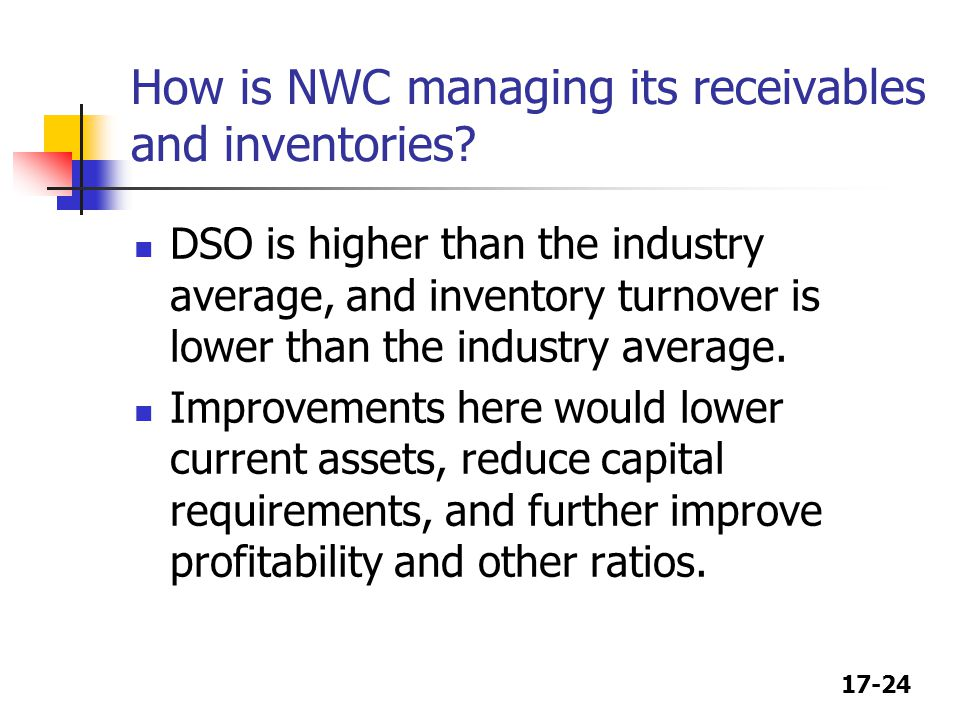 How is NWC managing its receivables and inventories