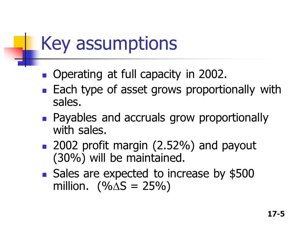 Key assumptions Operating at full capacity in 2002.