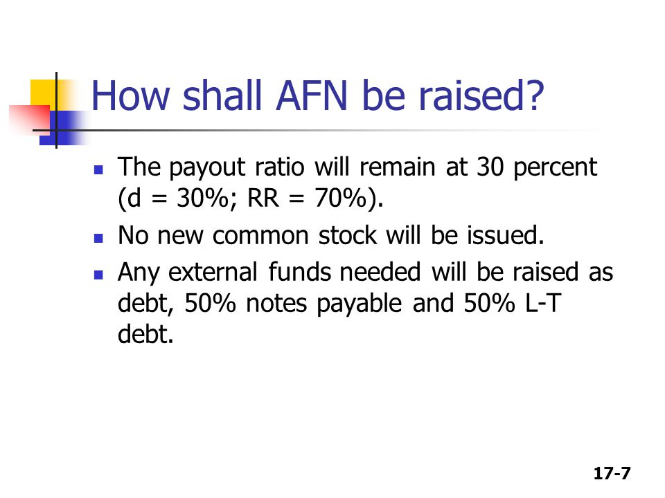 How shall AFN be raised The payout ratio will remain at 30 percent (d = 30%; RR = 70%). No new common stock will be issued.