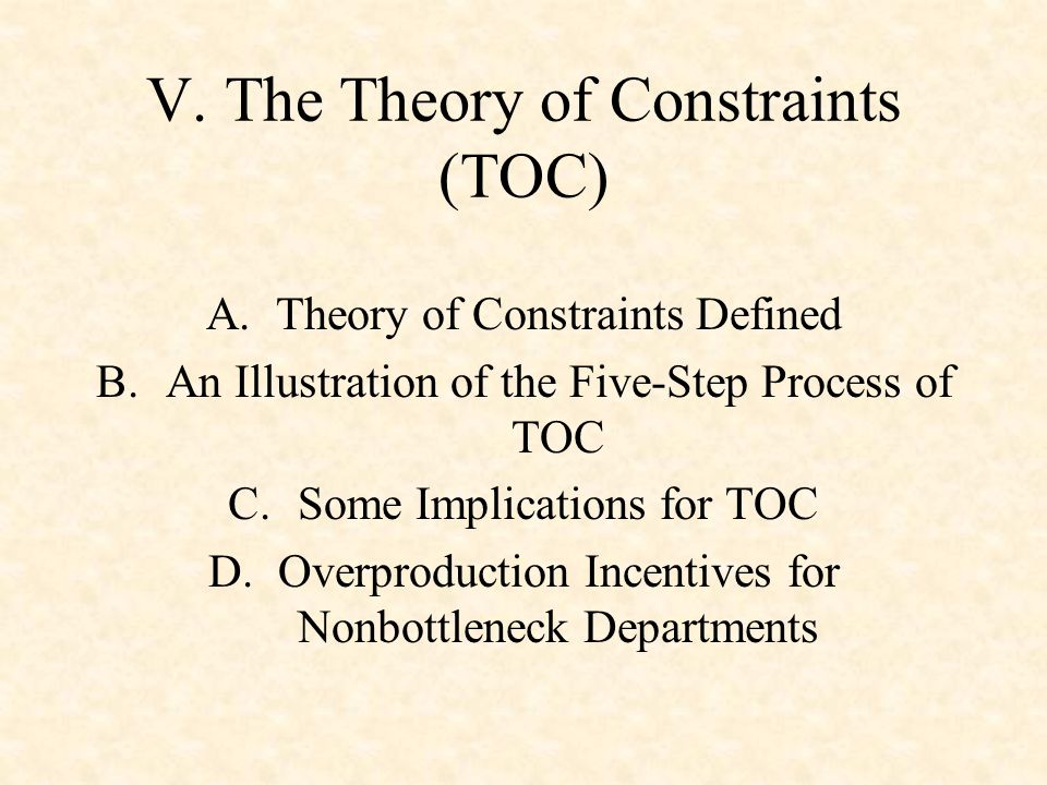 V. The Theory of Constraints (TOC)