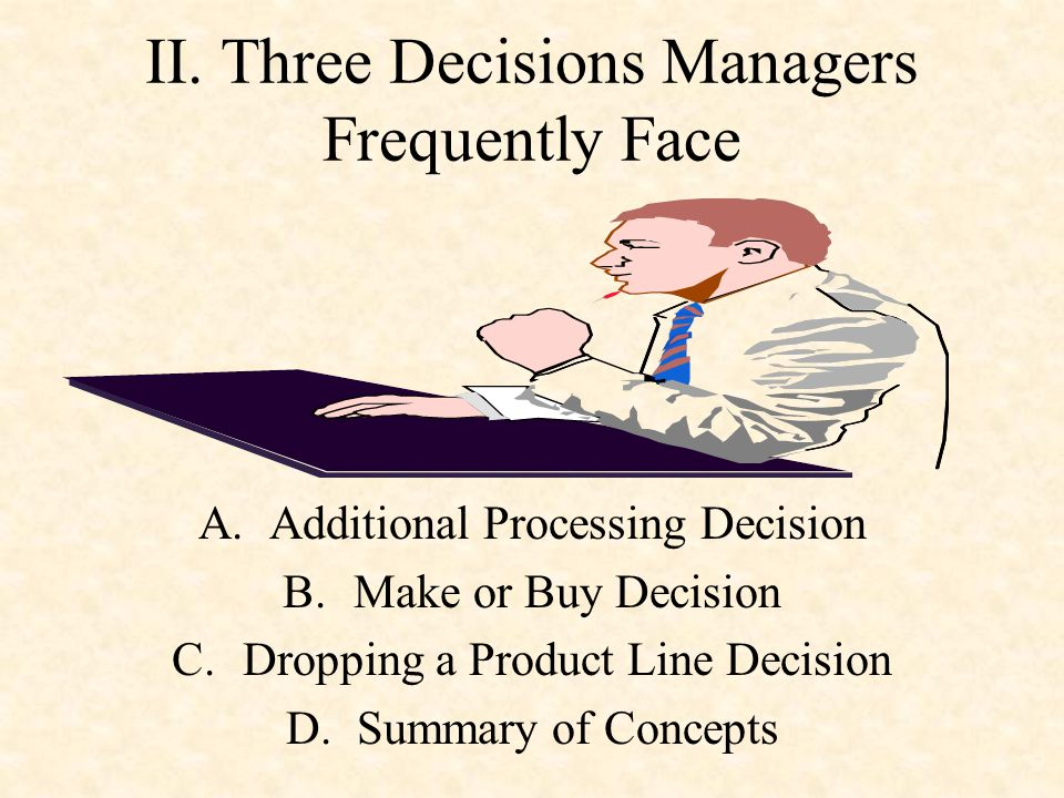 II. Three Decisions Managers Frequently Face